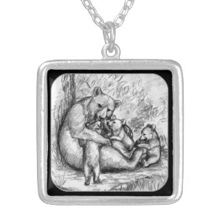 Bear Family Silver Plated Necklace