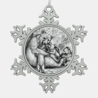 Bear  Family Snowflake Pewter Christmas Ornament