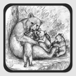 Bear Family Square Sticker