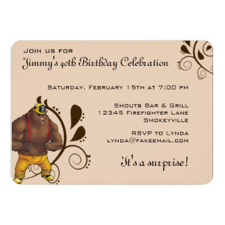 Bear Firefighter Custom Birthday Party Invitations