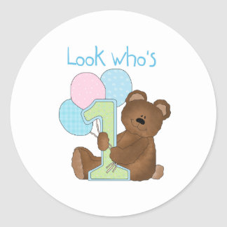 Bear First Birthday Blue Classic Round Sticker