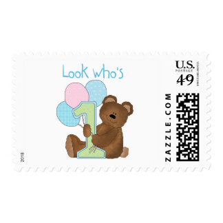 Bear First Birthday Blue Tshirts and Gifts Stamp