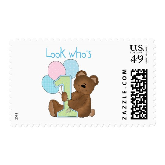 Bear First Birthday Blue Tshirts and Gifts Postage