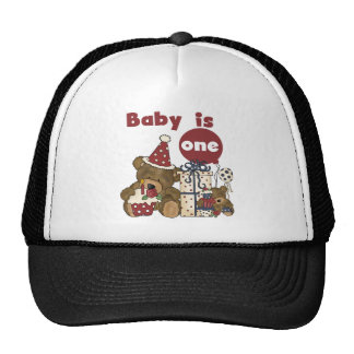 Bear First Birthday Red Tshirts and Gifts Trucker Hat
