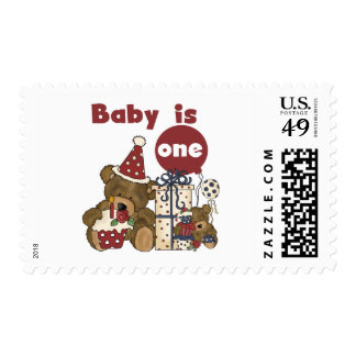 Bear First Birthday Red Tshirts and Gifts Stamp