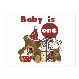 Bear First Birthday Red Tshirts and Gifts Postcard