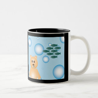 bear, fish, and bubbles coffee cup