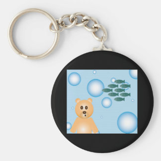 bear, fish, and bubbles key chain