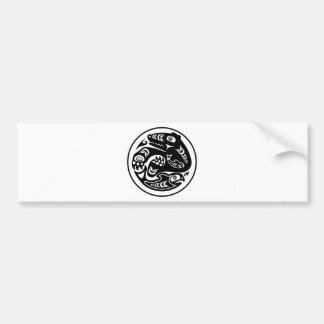 Bear & Fish Native American Design Bumper Sticker