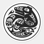 Bear & Fish Native American Design Classic Round Sticker