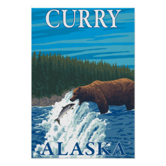 Bear Fishing in River - Curry, Alaska Posters