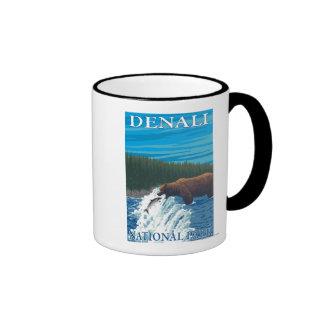 Bear Fishing in River - Denali National Park, Ringer Coffee Mug