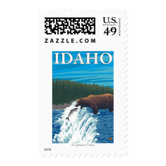 Bear Fishing in River - Idaho Stamps