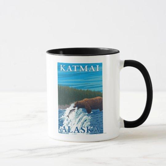 Bear Fishing in River - Katmai, Alaska Mug