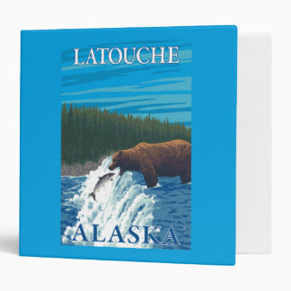 Bear Fishing in River - Latouche, Alaska 3 Ring Binder