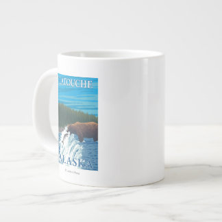 Bear Fishing in River - Latouche, Alaska Large Coffee Mug