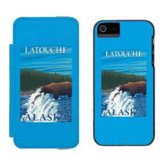 Bear Fishing in River - Latouche, Alaska Wallet Case For iPhone SE/5/5s