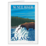 Bear Fishing in River - McNeil River, Alaska Greeting Cards