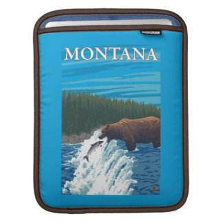 Bear Fishing in River - Montana Sleeves For iPads