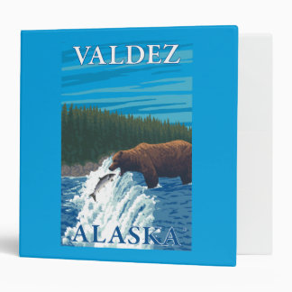 Bear Fishing in River - Valdez, Alaska 3 Ring Binder