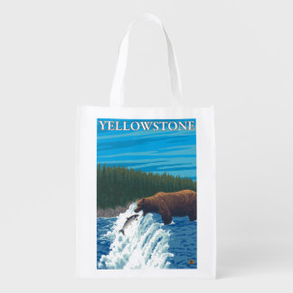 Bear Fishing in River - Yellowstone National Grocery Bag