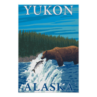 Bear Fishing in River - Yukon, Alaska Poster