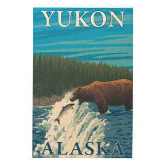 Bear Fishing in River - Yukon, Alaska Wood Wall Decor