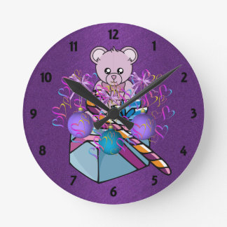 Bear for Christmas Childrens Learning Wall Clock