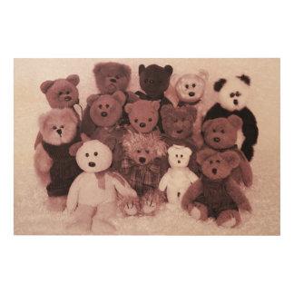 BEAR FRIENDS PORTRAIT-SEPIA WOOD WALL ART
