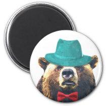 Bear funny cute animal woodland watercolor magnet