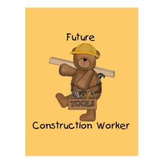 Bear Future Construction Worker Tshirts and Gifts Postcard