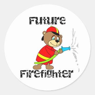 Bear Future Firefighter Classic Round Sticker