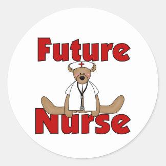Bear Future Nurse Classic Round Sticker