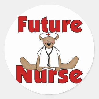 Bear Future Nurse T-shirts and Gifts Classic Round Sticker