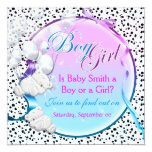 Bear gender reveal boy girl party 5.25x5.25 square paper invitation card