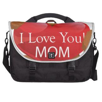 bear give I Love U MOM Laptop Commuter Bag