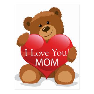 bear give I Love U MOM Postcard
