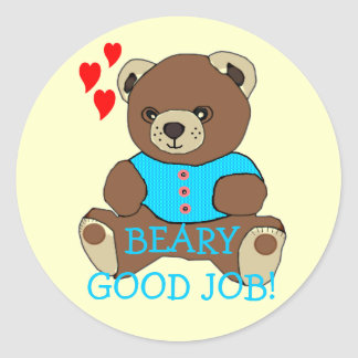Bear-Good Job Teacher's Homework Classic Round Sticker