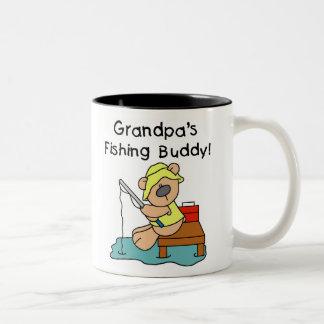 Bear Grandpas Fishing Buddy Two-Tone Coffee Mug