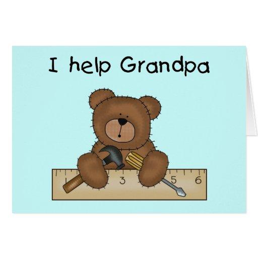 Bear Grandpa's Helper Tshirts and Gifts Greeting Card