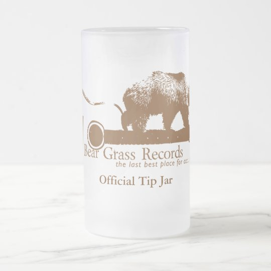 Bear Grass Records Official Tip Jar Frosted Glass Beer Mug