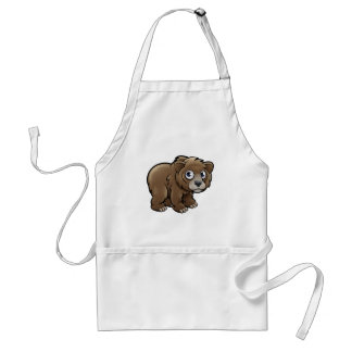 Bear Grizzly Animals Cartoon Character Adult Apron