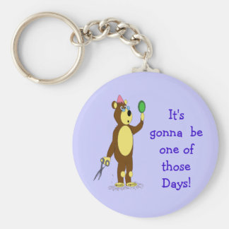 bear hair day basic round button keychain