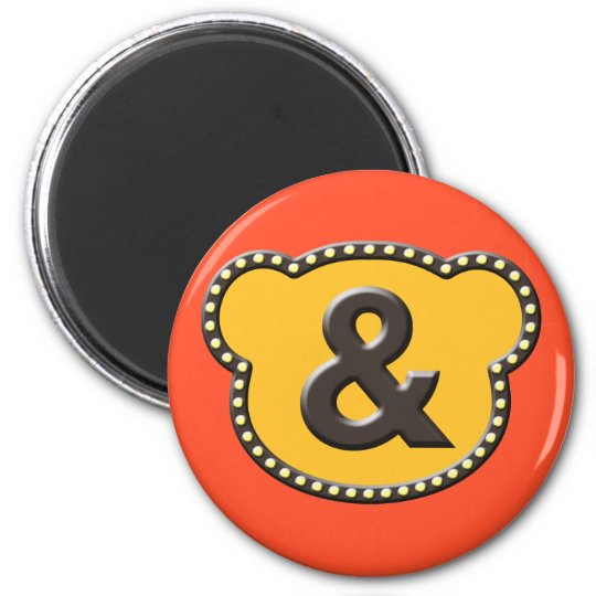 Bear Head And Mark 2 Inch Round Magnet