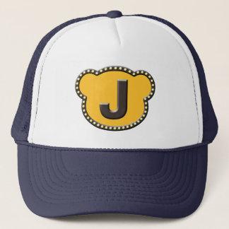 Bear Head Initial J Trucker Hat