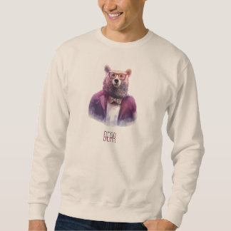 Bear Head Man Body Bow Tie Glasses Hipster Sweatshirt