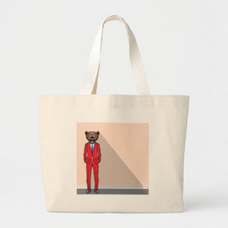 Bear head man vector illustration large tote bag