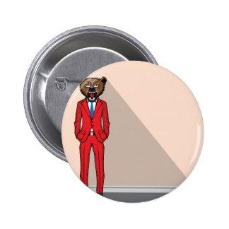 Bear head man vector illustration pinback button