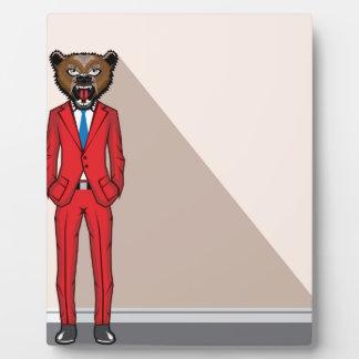Bear head man vector illustration plaque