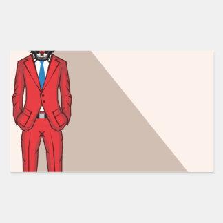 Bear head man vector illustration rectangular sticker